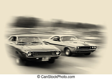Muscle cars cruising on historic woodward avenue