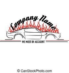 Muscle Car Flame Logo Vector