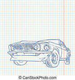 Muscle Car Illustration - Notebook paper with blue lines and...