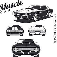 Classic muscle car isolated on white background.