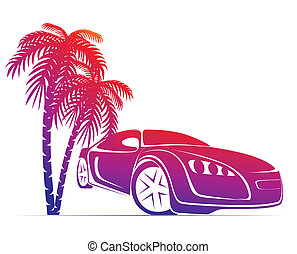muscle car near the palm - silhouette of muscle car near the...