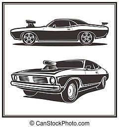 Muscle car poster set vector illustration