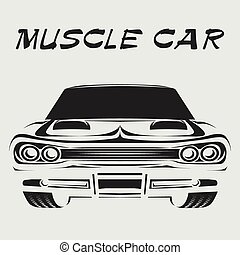 Muscle car retro poster vector illustration