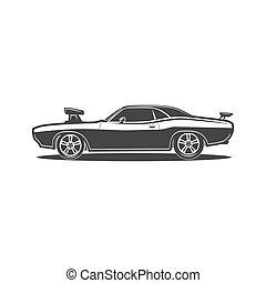 Muscle car retro vector