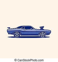 Muscle car retro vector