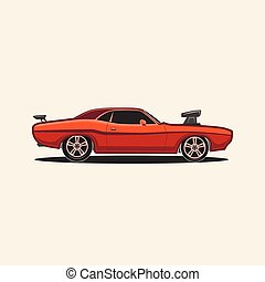Muscle car retro vector - Muscle car sport retro vintage...