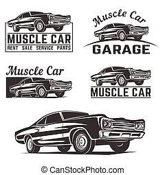 Muscle car vector logo emblem - Muscle car vector poster...