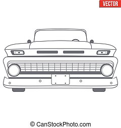 Muscle car vector symbol for delivery company. Monochrome...