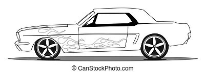 Vintage muscle car with flames, line drawing