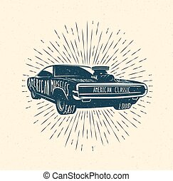 Muscle car, Vintage styled vector illustration.