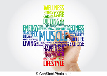 Muscle cross word cloud with marker, health concept background