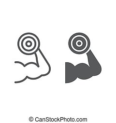 Muscle growth training line and glyph icon, gym and sport,...