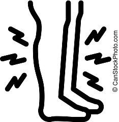 muscle, icône, contour, illustration, vecteur, douleur