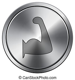 Muscle icon. Round icon imitating metal.