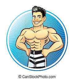 Muscle Man - A handsome muscular man with hands on hips...