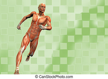 running human male on green checkered background