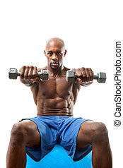 Muscle Man Holding Dumbells