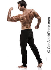 Muscle man in studio and showing the biceps muscle, isolated over a white background