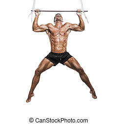Muscle man making elevations