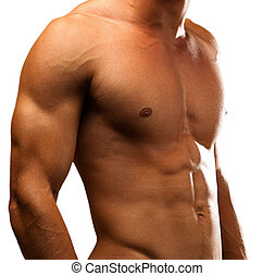 muscle man on a white background