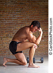 muscle man thinking with thinker posture - muscle shaped man...