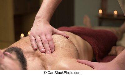 muscle, masage, blessures, men., pectoral, professionnel, traitement, rééducation, athlètes, après, guérison, chest.