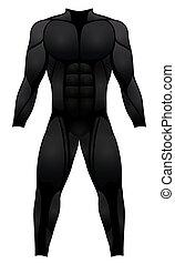 muscle, noir, déguisement, complet