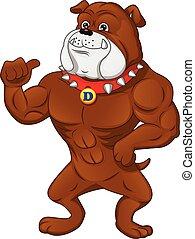 muscle, pouce, dessin animé, anglaise, haut, bouledogue
