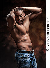 naked man with perfect body posing in jeans - Muscle sexy...