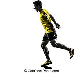 muscle, silhouette, crampe, coureur, forcer, sprinter, fond, équipez course, blanc, studio, une, caucasien, jeune