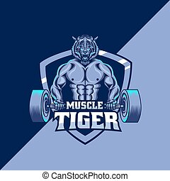 muscle tiger mascot logo template