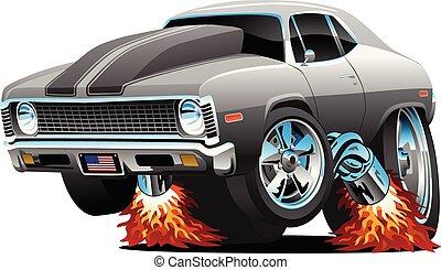 muscle, vecteur, chaud, dessin animé, isolé, tige, voiture, classique, américain, illustration