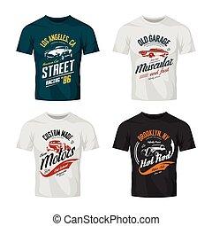 muscle, vecteur, railler, t-shirt, chaud, logo, roadster, tige, voiture, set., haut, coutume, vendange