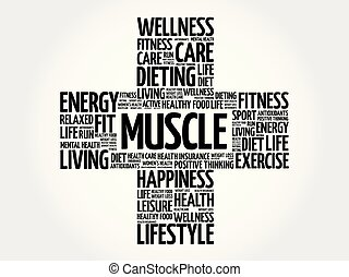 Muscle word cloud collage, health cross concept