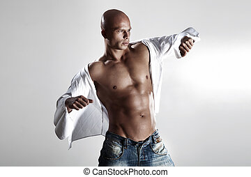 muscled, guapo, modelo, posing.