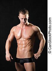 muscled, mâle, modèle, à, fort, bras