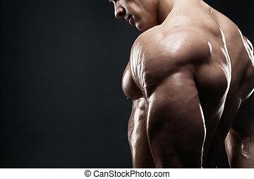 muscled, macho, modelo, mostrando, seu, costas