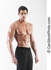 muscled, macho, modelo, posar, em, estúdio
