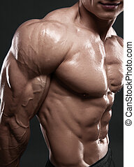 Muscled male model showing his biceps