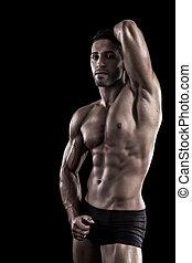 muscled, schwarzer hintergrund, mann