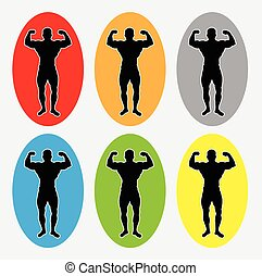 Muscleman silhouette logo - Muscle masculine man gymnastic...