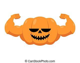 muscles., σύμβολο , ισχυρός , φρούτο , μεγάλος , halloween., γιορτή , χορτοφάγοs , τρομερός , hands., καταλληλότητα , bodybuilding., athlete., λαχανικό , κολοκύθα , δυνατός