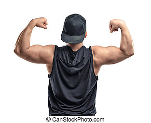 muscles, biceps., -, jeune, musculaire, type, bras, spectacles