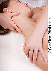 muscles, cou, femme, étendre, thérapeute, masage