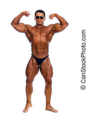 muscles, culturiste, projection, sien