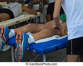 muscles, séance entraînement, après, athlète, sport, masage