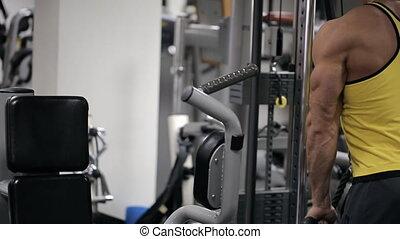 muscles, simulateur, gymnase, mains, circuit, trains, bloc, homme