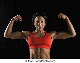 muscles., vrouw, flexing