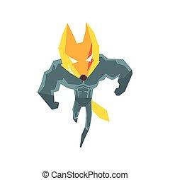 Muscly Fox Super Hero Character Flat Geometrical Design Cool...