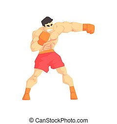 Muscly Man Boxing Martial Arts Fighter, Fighting Sports...